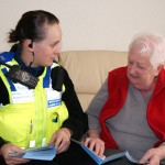 CSO Jo Powell with local Llanfoist resident Bonnie Russell.