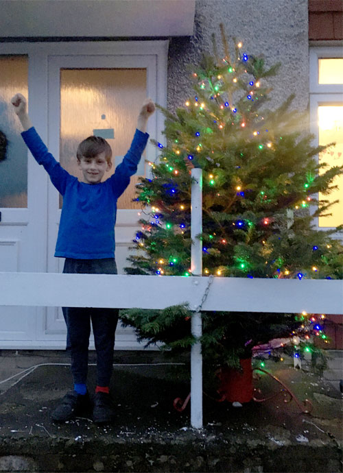 Mathonwy with his prize tree from Abergavenny Garden Centre